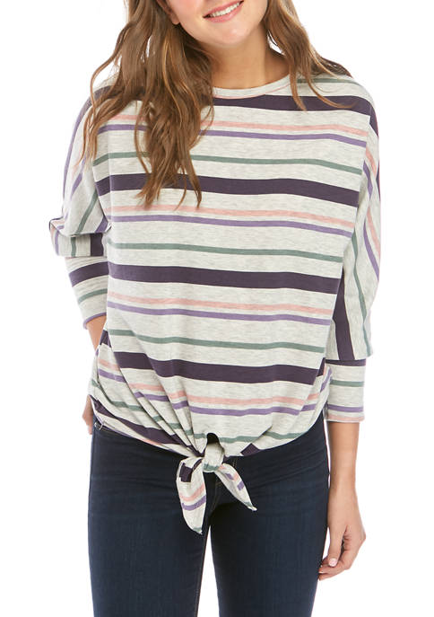 Cupio Womens Multi Stripe Tie Front Shirt