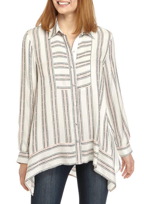 Womens High Low Stripe Tunic Shirt