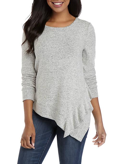 Cupio Womens Ruffle Hem Dream Soft Sweater