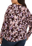 Plus Size Novelty Floral Print Tie Front Top