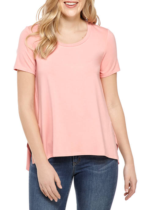 Cupio Womens Solid Side Slit T-Shirt