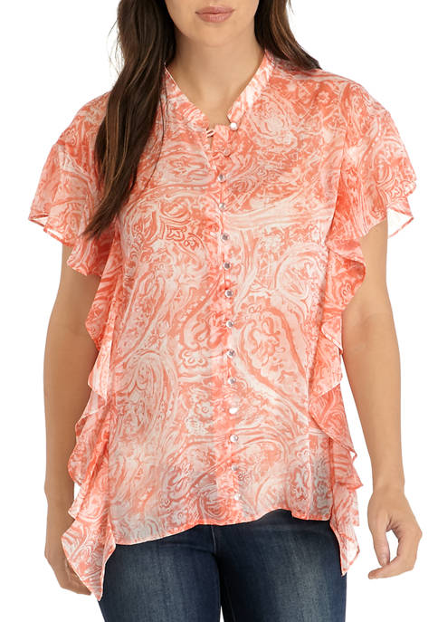Cupio Womens Printed Boxy Ruffle Button Blouse