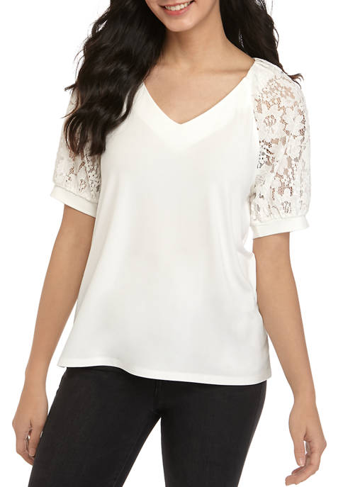 Cupio Womens Lace Puff Sleeve Mixed Media Top