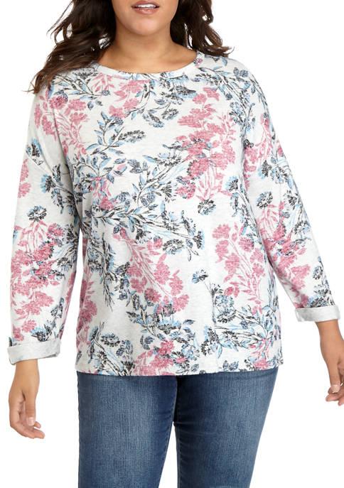 Cupio Plus Size Decorative Floral Print Dreamsoft Top