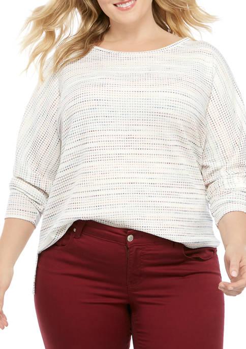 Cupio Plus Size Rainbow Stripe Dolman T-Shirt