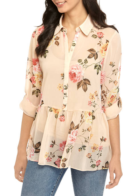 Womens Floral Woven Blouse