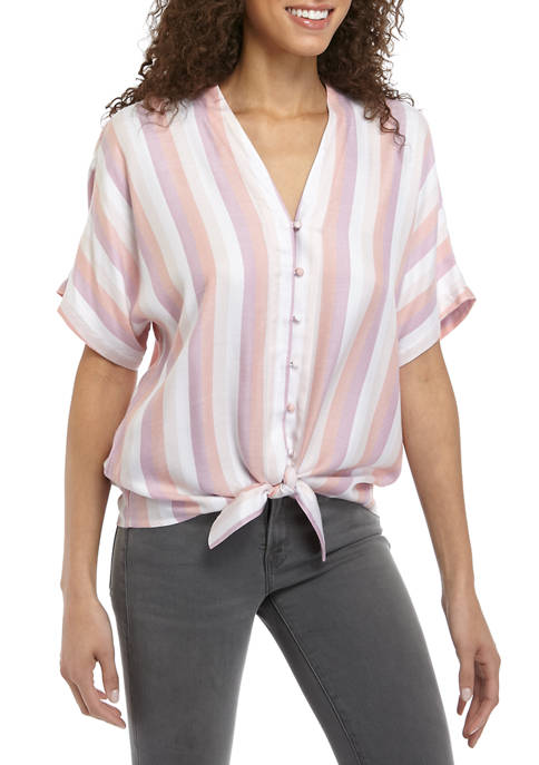 Cupio Womens Stripe Button Tie Front Shirt
