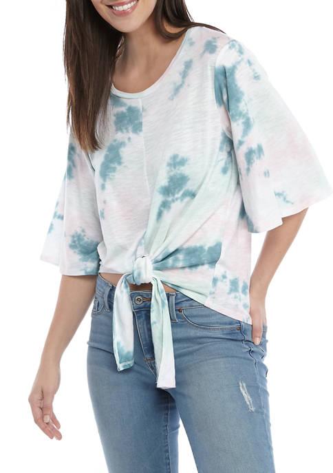 Cupio Womens Tie Dye Front Knit Shirt