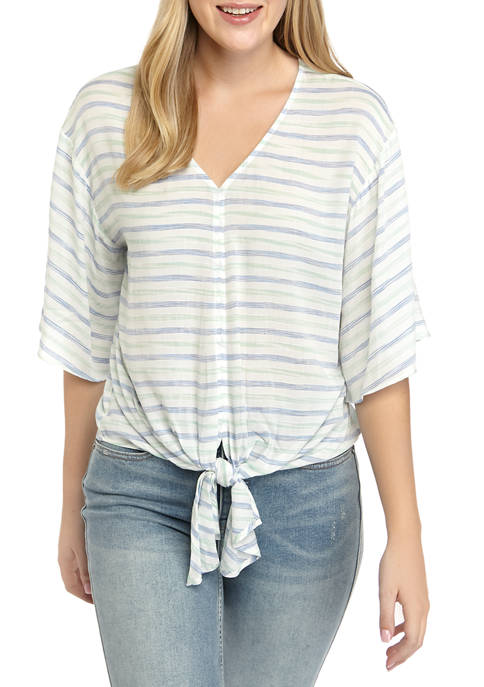 Cupio Womens Multi Stripe Tie Front Top