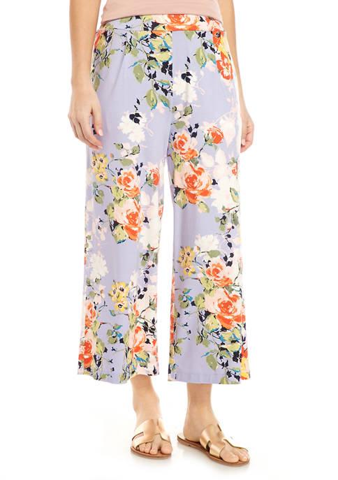 Cupio Womens Floral Wide Leg Culottes