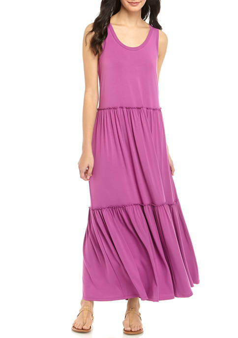 cupio blush Womens Tier Knit Maxi Solid Dress