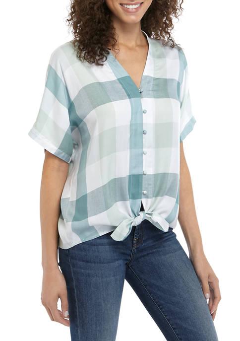 Womens Plaid Button Tie Front Shirt
