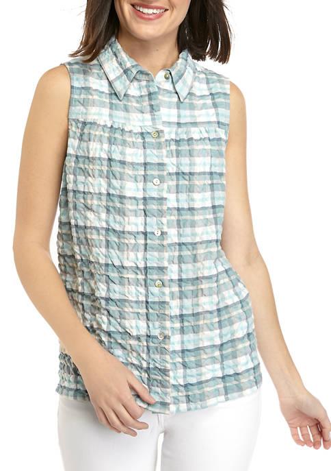 Womens Sleeveless Button Front Top