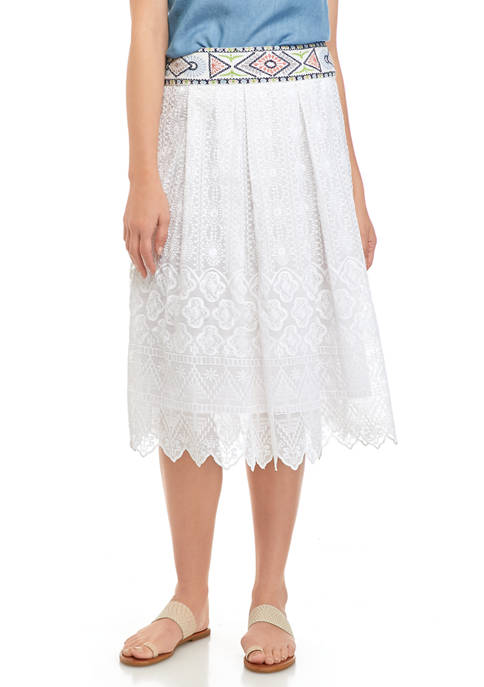 cupio blush Womens Embroidered Waist Lace Midi Skirt