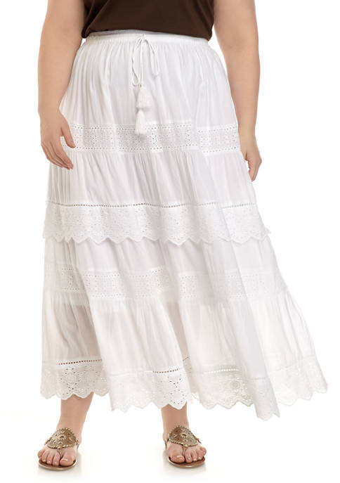 Plus Size Eyelet Skirt