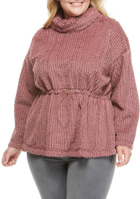 Cupio Plus Size Textured Fur Peplum Sweater