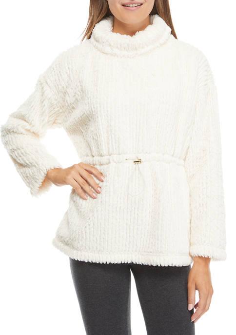 Cupio Womens Textured Fur Peplum Sweater
