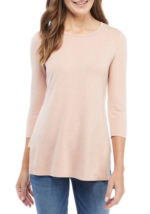 cupio blush Womens Side Slit Tunic Shirt