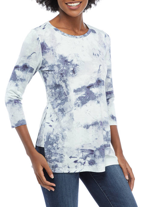 cupio blush Womens Side Slit Printed Tunic Shirt