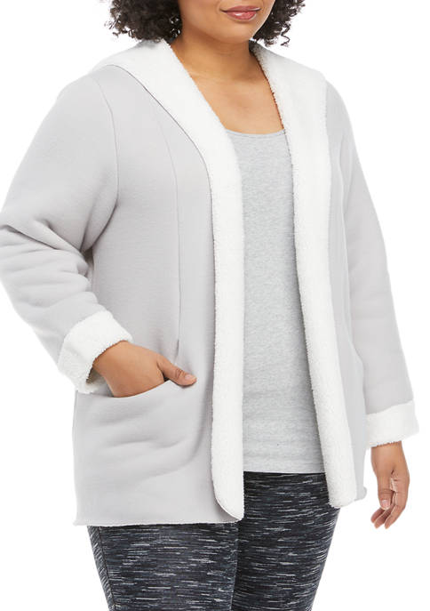 cupio blush Plus Size Sherpa Lined Cardigan