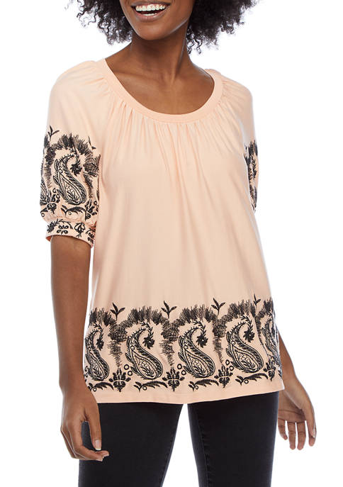 Cupio Womens Embroidered Short Puff Sleeve Top