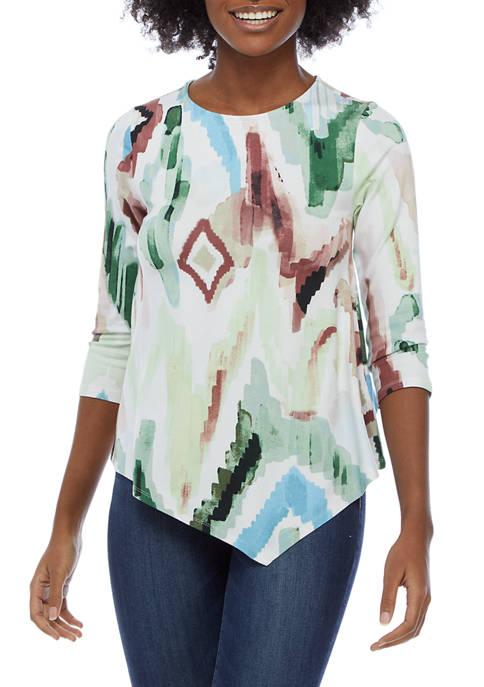 Cupio Womens 3/4 Sleeve Printed Asymmetrical Hem Top