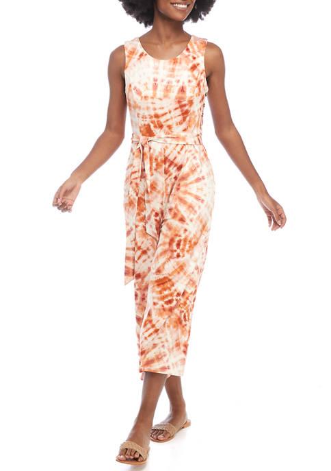 Cupio Womens Sleeveless Tie Dye Jumpsuit