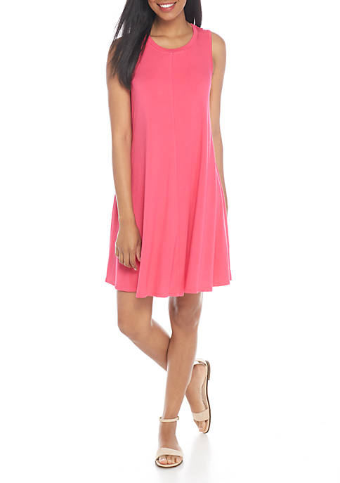 cupio blush Sleeveless Solid Swing Dress