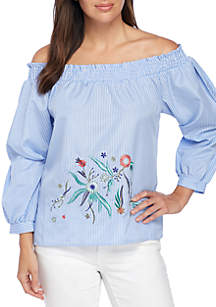 Off-the-Shoulder Yarn Dye Top with Embroidery