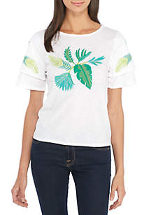 Short Ruffle Sleeve Embroidered Knit Top