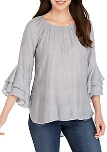 cupio blush Stripe Ruffle Sleeve Top
