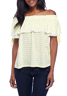 Off-the-Shoulder Stripe Tassel Top