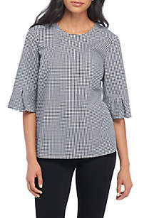 Short Sleeve Gingham Bow Top