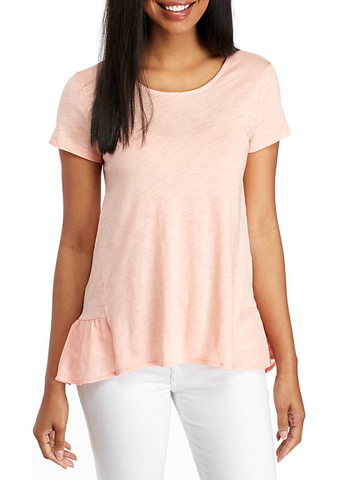 cupio blush Short Sleeve Cotton Slub Woven Flounce