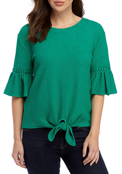 Cupio Short Sleeve Texture Knot Front Knit Top