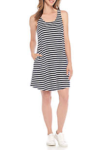 Sleeveless Terry Cloth Stripe Dress