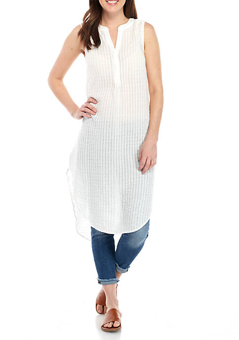 cupio blush Sleeveless White Pucker Super Tunic