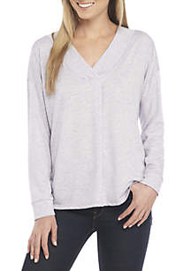 Terry Solid V-Neck Knit Top