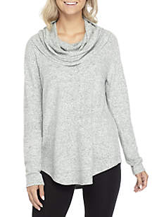 Long Sleeve Dream Soft Cowl Neck Round Hem Top