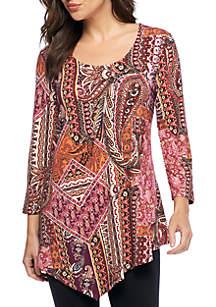 Printed Asymmetrical Hem Knit Floral Top