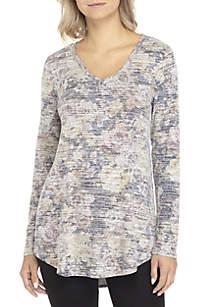 Marled Print Endless Knit V-Neck Top