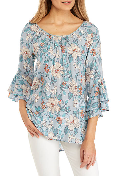 cupio blush 3/4 Sleeve Printed Peasant Top