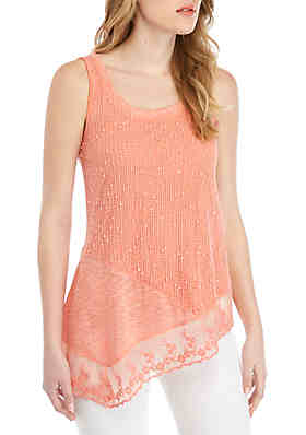 e6d876989387d6 Cupio Sleeveless Lace Embroidered Knit Top ...