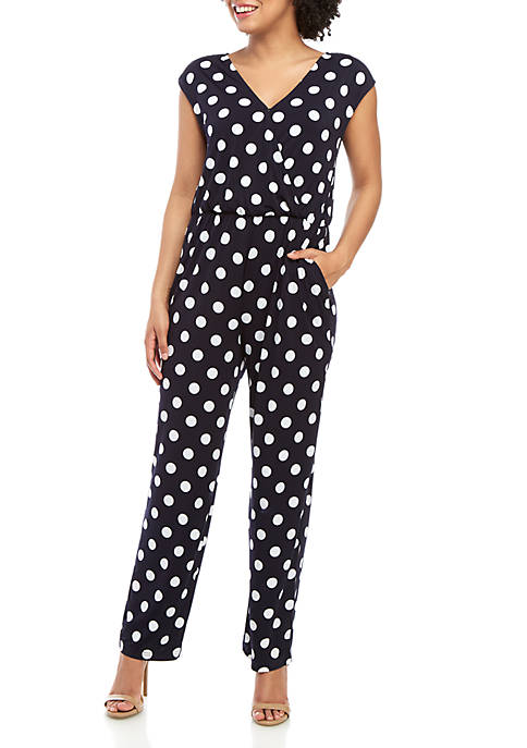 Cupio Polka Dot Wrap Front Jumpsuit