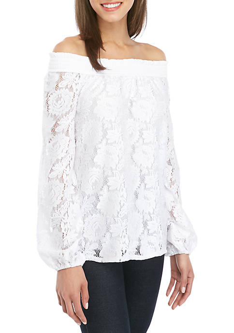 Cupio Long Sleeve Lace Off The Shoulder Knit