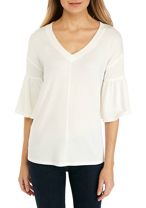 cupio blush Short Sleeve Endless Ruffle Knit Top