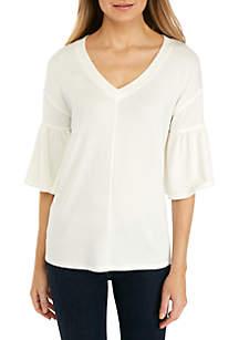 cupio blush Short Sleeve Endless Ruffle Knit Top