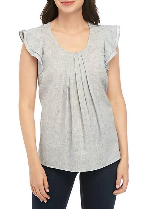 Cupio Flutter Sleeve Yarn Dyed Top