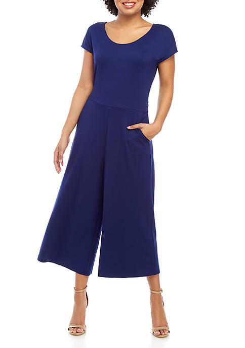 Cupio Solid Short Sleeve Jumpsuit
