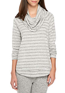 Long Sleeve Dream Soft Stripe Cowl Neck Top